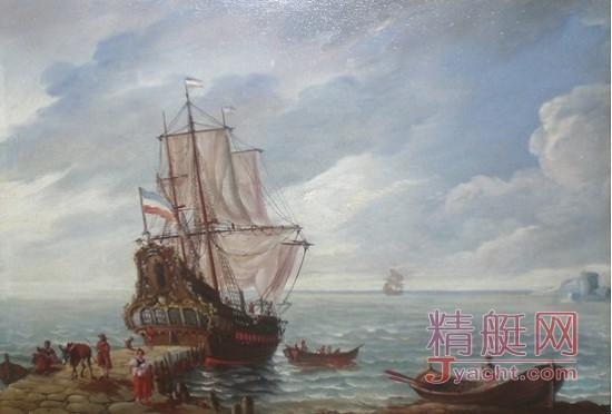 巴黎美爵艺术基金典藏画作《海滨的帆船》