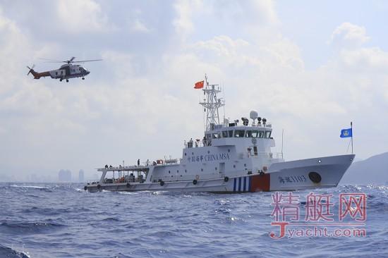 三亚外海域,三亚海事局海巡1103与南海第一救助飞行队救助演练