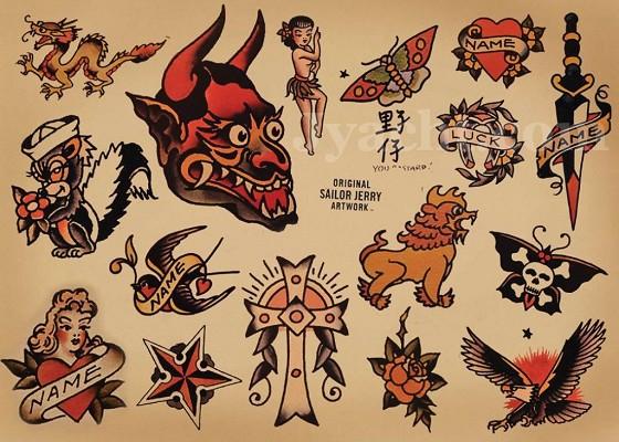 纹身图案中,例如被刺穿的心