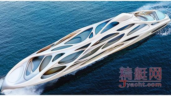 游艇上方的网状结构——被比作骨架——将游艇的不同