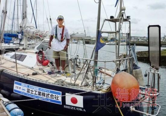 日本七旬老人从大阪出发挑战驾帆船环球一周
