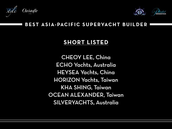海星游艇(Heysea Yachts)斩获BEST ASIAN-PACIFIC SUPERYACHT BUILDER(亚太区最佳超级游艇制造商)大奖。